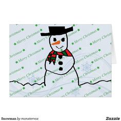 Snowman Card #Snowman #Snow #Snowflake #Winter #Holiday #Christmas #MerryChristmas #Xmas #Card #GreetingCard