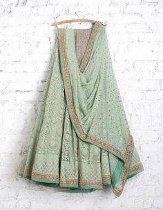 SwatiManish Lehengas SMF LEH 210 17 Mint green lakhnavi machine threadwork lehenga with georgette badla dupatta and anmol sequin blouse