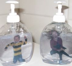 Success ... the kids are in the soap.  Photo print on white paper.  Print on one sheet.  Cut out, roll up and place in a soap bottle.  Transparent soap there and ready.  It is difficult to remove. Labels soap bottles  (Done with benzene).