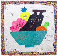 Misaki Kawai,Fruity Party, 2011, acrylic, fabric, and paper on canvas, 60 x 60 in.