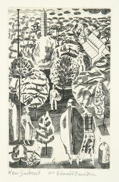 'Kew Gardens' by Edward Bawden (copper plate engraving) Collage Illustration, Ink Illustrations, Michael Banks, English Artists, Kew Gardens, Pottery Designs, Garden Art, Printmaking, Autumn 2017