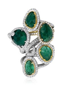 Yael Designs Serendipity Collection - Rose-cut emerald and diamond ring, 2013