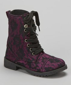 Take a look at this Purple Lace Millie Combat Boot by Blue Suede Shoes on #zulily today!