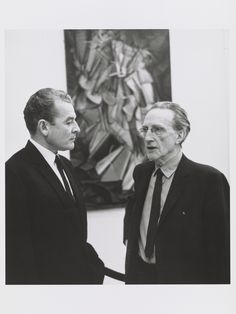 Marcel Duchamp, shown here with art historian Henri Marceau at the Armory Show 50th Anniversary Exhibition in 1963, painted the revolutionary Nude Descending a Staircase when he was just 26 years old. via @nprnews