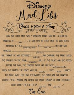 Disney Mad Libs Bridal Shower Game. Bridal Shower Games. Disney themed bridal shower.