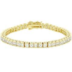 """Isla 10.8ct CZ 14k Gold 7"""" Tennis Bracelet"""