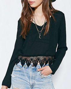 Ladies plain black lace splicing t shirt chiffon V neck crop tops