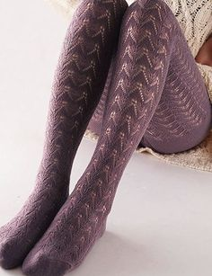 Vero Monte 1 Pair Women's Hollow Out Knitted Patterned Tights (Wine) Cotton Tights, Knitted Tights, Patterned Tights, Thigh High Socks, Stocking Tights, Nylon Stockings, Tight Leggings, Hosiery, Fashion Outfits