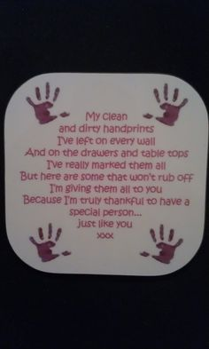 Messy Fingers & Handprint Poem Coaster Pink Text
