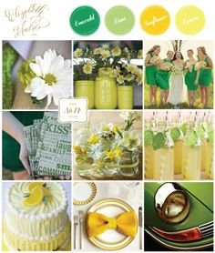 Such a fun and bright spring summer #wedding color palette of #emerald #green & #yellow.