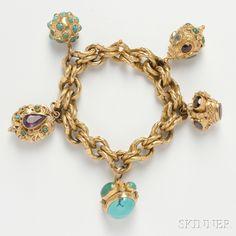 18kt Gold Charm Bracelet. | via Skinner Auctioneers    ...beautiful isn't it