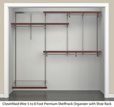 The ClosetMaid® 5 To 8 Foot Premium Shelftrack Organizer With Shoe Rack  Offers Configuration And Shelf Location Adjustability. The ShelfTrack®  System Is An ...