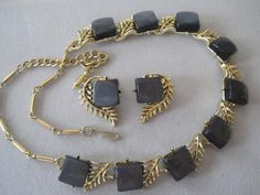 Coro Gray Thermoset Gold Tone Necklace Set by VintagObsessions, $28.00