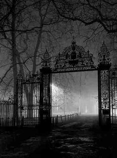 This reminds me of a Supernatural screen shot.like the entrance to a cemetary. Just thought it was cool :) Dark Gate, Cambridge, England photo via minnie Old Cemeteries, Graveyards, Spooky Places, Cemetery Art, Cemetery Statues, Iron Gates, Old Gates, Gates Of Hell, Garden Gates