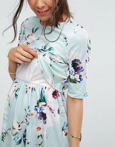 Shop the new collection of clothing, footwear, accessories, beauty products and more. Nursing Gown, Maternity Nursing Dress, Nursing Wear, Nursing Clothes, Maternity Wear, Maternity Fashion, Maternity Dresses, Feeding Dresses, Breastfeeding Shirt