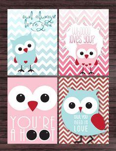 Printable Valentines - Owls - DIY. $6.00, via Etsy.