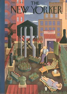 Rooftop garden, The New Yorker July 19, 1949 | Ilonka Karasz