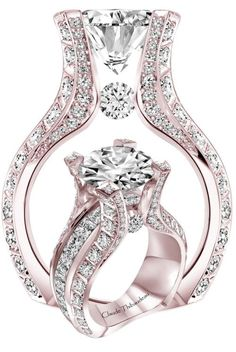 Huge Diamond Ring in Blushing Gold by Claude Thibaudeau