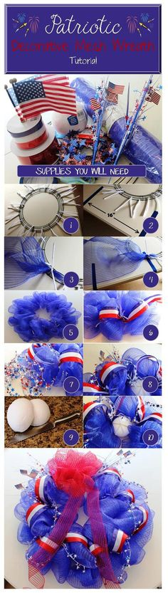 Patriotic Decorative Mesh Wreath Tutorial | Brass & Whatnots