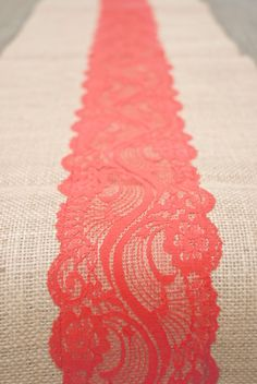 Beach Orange Coral Red Vermillion Lace Burlap Runner door Jessmy