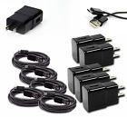 5X 2A TRAVEL ADAPTER6FT MICRO USB CABLE CHARGER BLACK GALAXY S4 NOTE 2 NEXUS 4