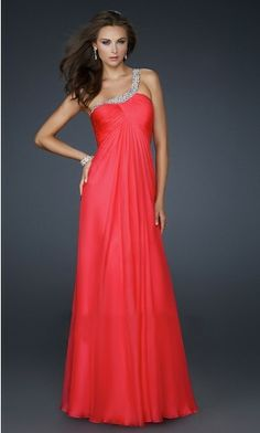 One Shoulder Chiffon A-line Formal Dress this is the color at least it looks like bright orange