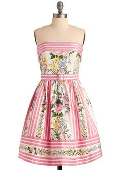 "Strapless floral and stripe dress with cute matching belt by Betsey Johnson at Modcloth. Another ""perfect garden party"" dress!"