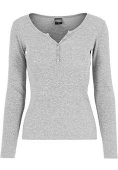 Urban Classics Damen T-Shirt Rib Pocket Long Sleeve Tee grau (Grau) Medium