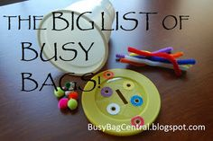 Busy Bag Central: Master list of Busy Bags for all ages, even older kids
