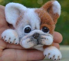 Brooch Artist Neede Felted Bulldog Dog Handmade Sculpture Wool Miniature 2in #Handmade