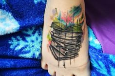 abstract book tattoo on foot - watercolor tattoo for boy and girl ...