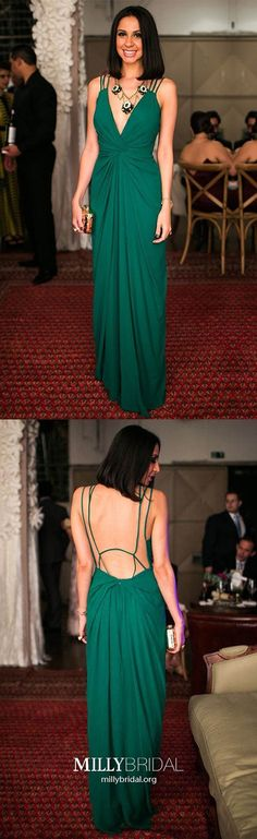 Emerald Prom Dresses Long,Sheath V-neck Prom Dresses Spaghetti Straps,Sexy Prom Dresses Open Back,Chiffon Prom Dresses with Ruffles Ruched
