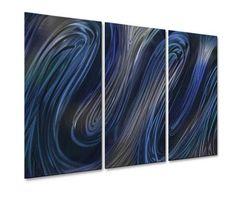 Blue Glissade IV Metal Wall Art Hanging
