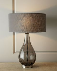 """Smoky Gray Glass Table Lamp at Horchow. (18.5""""Dia. x 26""""T; Base, 9""""Dia)"""