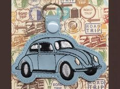 VW Bug Key FobThis cute key fob sews in the hoop.Available Formats Include… Machine Embroidery Patterns, Embroidery Applique, Embroidery Ideas, Cat Key, Sewing Projects For Kids, Key Fobs, As You Like, Things To Sell, Vw
