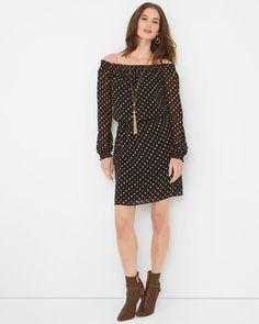 White House | Black Market Off-The-Shoulder Printed Dress