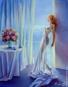 """Купить Картина маслом """"Сладкое утро"""" - синий, утро, девушка, море, картина маслом"""