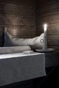Paanu sauna pillow and seat cover by Marja Rautiainen for Lapuan kankurit Spa Sauna, Sauna Room, Bathroom Spa, Bathroom Ideas, Outdoor Sauna, Finnish Sauna, Spa Rooms, Infrared Sauna, Home Spa