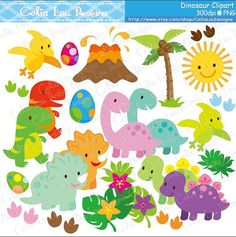 Dinosaur Digital Clipart/ Cute Dinosaur by CeliaLauDesigns on Etsy
