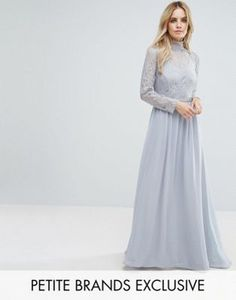 John Zack Petite All Over Lace Top Maxi Dress With Open Back