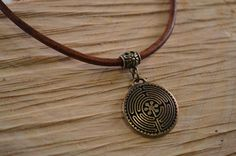 labyrinth-pendant-leather-necklace-brown