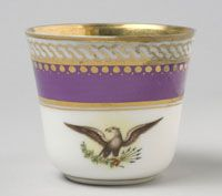 From the state dinner and dessert service of Abraham Lincoln (President 1861-1865)--Teacup/Made in France, Europe c.1861--Artist/maker unknown, French. Imported and decorated by E. V. Haughwout and Company, New York, 1857 - 1870. Porcelain with printed, enamel, and gilt decoration. Height: 2 3/8 inches (6 cm) Mary Todd Lincoln, Abraham Lincoln, Lincoln President, Presidents In Order, Vintage Dinnerware, France Europe, Vintage Accessories, Teacup, Porcelain