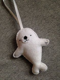 Baby Seal Felt Christmas Ornament.
