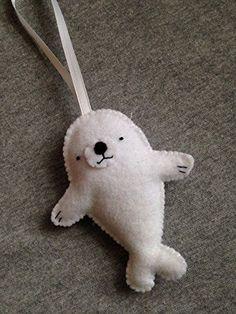 Baby Seal Felt Christmas Ornament.