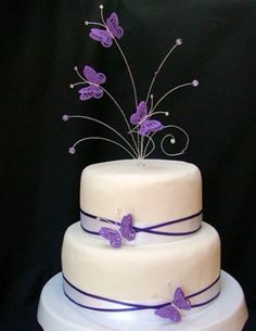 butterfly cake toppers for wedding cakes   Purple butterfly cake topper by TJS Cake Toppers.com