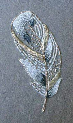 Beautiful embroidered feather...