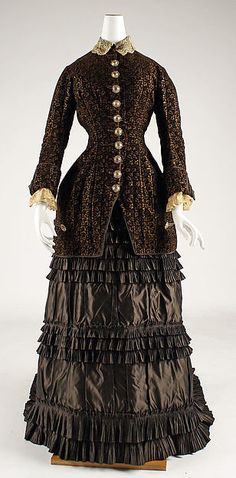 Wedding dress, Date: 1879, Culture: French Medium: silk, Dimensions: (a) Length at CB: 28 1/2 in. (72.4 cm) (b) Length at CB: 60 in. (152.4 cm) Credit Line: Gift of Miss Ethel O. Blanpied, 1950 Accession Number: C.I.50.7a, b