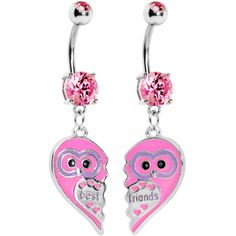 Owl Best Friends Belly Ring Set #bodycandy #piercing #bellyring #bestfriends #cute #pink #owl $12.99
