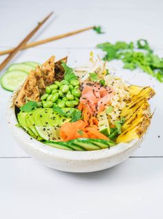 This ginger tempeh poke bowl with grilled pineapple is a healthy vegan twist of a traditional poke bowl. Enjoy a bowl for your next lunch!