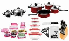 Stocked with pots, frying pans, knives, kitchen utensils, and more, this multi-piece set is great for a first kitchen set-up